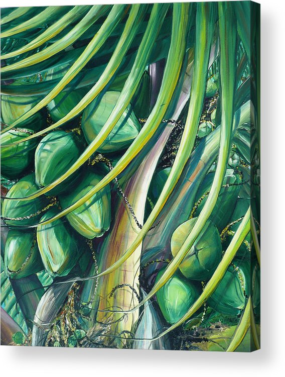 Coconut Painting Caribbean Painting Coconuts Caribbean Tropical Painting Palm Tree Painting  Green Botanical Painting Green Painting Acrylic Print featuring the painting Green Coconuts 2 by Karin Dawn Kelshall- Best