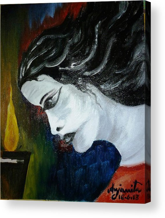 Melancholy Acrylic Print featuring the painting Melancholy by Anjanita Das