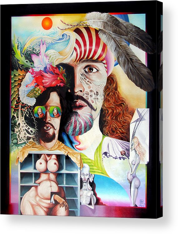 Surrealism Acrylic Print featuring the painting Selfportrait With The Critical Eye by Otto Rapp