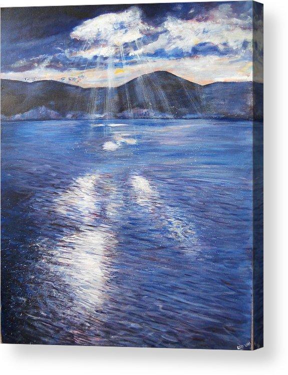 Landscape Acrylic Print featuring the painting Sunset Near Myrtos Beach Kefalonia by Robina Osbourne