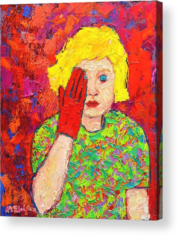 Girl Acrylic Print featuring the painting There's No Comfort In The Truth by Ana Maria Edulescu