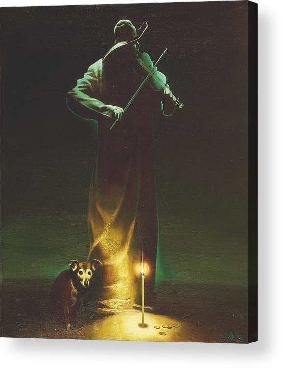 Figures Acrylic Print featuring the painting Violinist by Andrej Vystropov