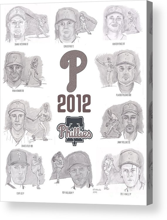 Philadelphia Phillies Acrylic Print featuring the drawing 2012 Phightin' Phils by Chris DelVecchio