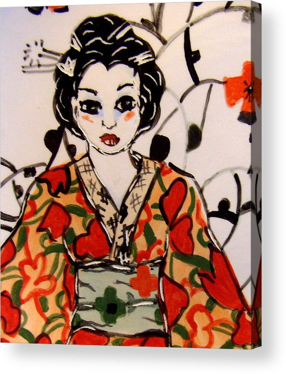 Art Acrylic Print featuring the ceramic art Geisha In Training by Patricia Lazar