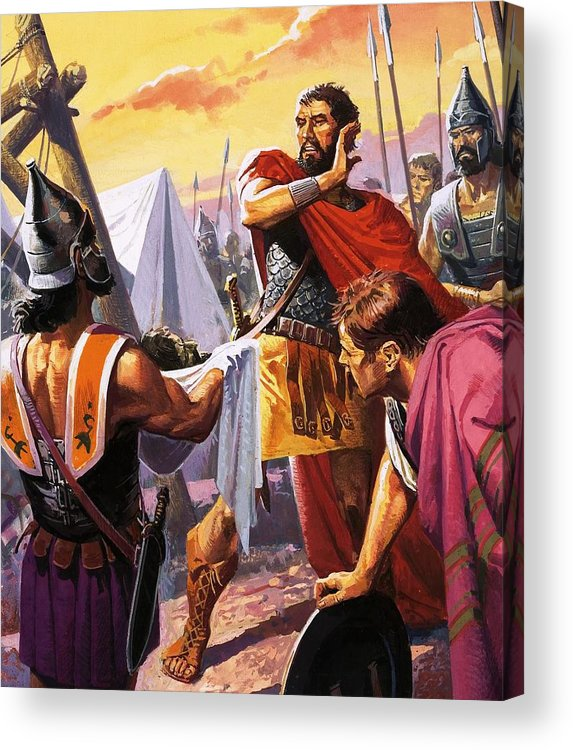Hannibal; Hasdrubal; Brothers; Army; War; Spain; General Scipio; Einforcements; Camp; Head; Severed Head; Soldiers; Armour; Spears; Sword; Tents Acrylic Print featuring the painting Hannibal Discovers The Grisly Fate Of His Brother Hasdrubal by Severino Baraldi
