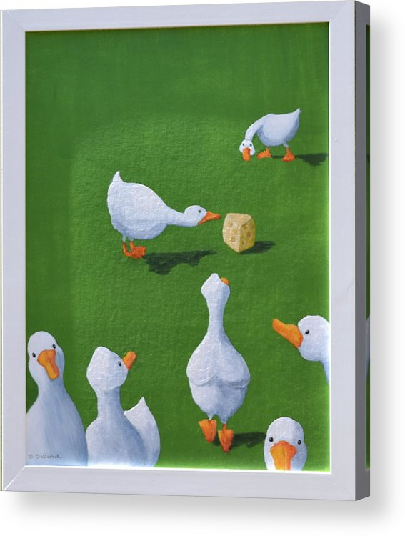 Ducks With Cheese Acrylic Print featuring the painting Cheese And Quackers by Sheryl Sutherland