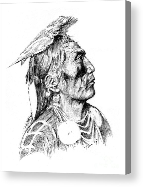 Portraits Acrylic Print featuring the drawing Crow Medicine Man by Toon De Zwart