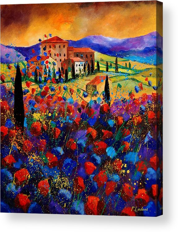 Flowers Acrylic Print featuring the painting Tuscany Poppies by Pol Ledent