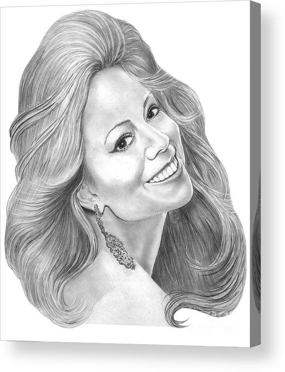 Pencil Acrylic Print featuring the drawing Mariah Carey by Murphy Elliott