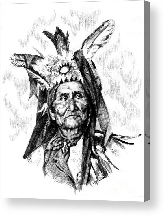 Geronimo Acrylic Print featuring the drawing Geronimo by Toon De Zwart