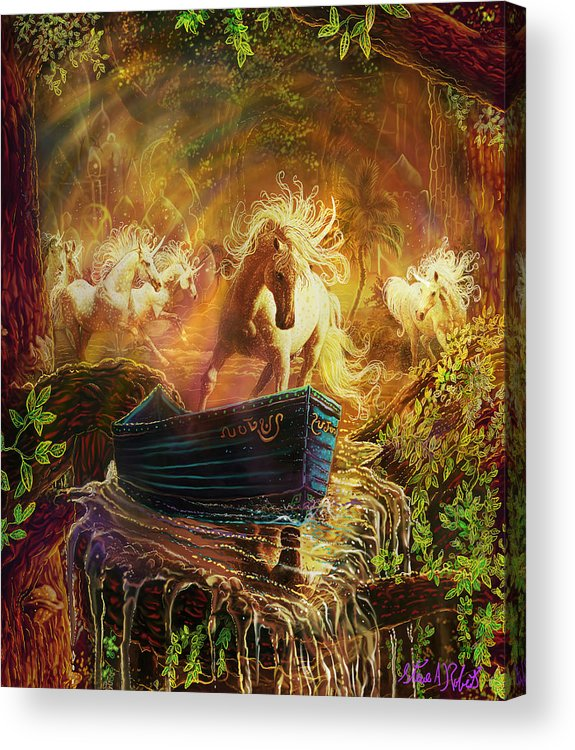 Fantasy Unicorn Paintings Acrylic Print featuring the painting A Magical Boat Ride by Steve Roberts
