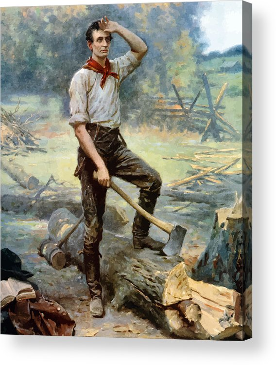 Abraham Lincoln Acrylic Print featuring the painting Abe Lincoln The Rail Splitter by War Is Hell Store