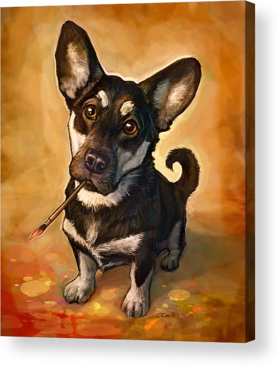 Dog Acrylic Print featuring the painting Arfist by Sean ODaniels
