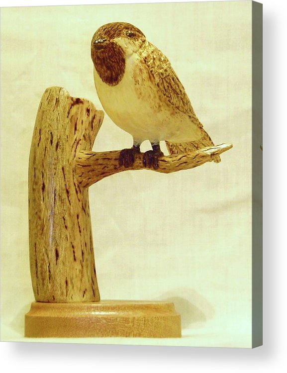 Woodcarving Acrylic Print featuring the sculpture Black-capped Chickadee by Russell Ellingsworth
