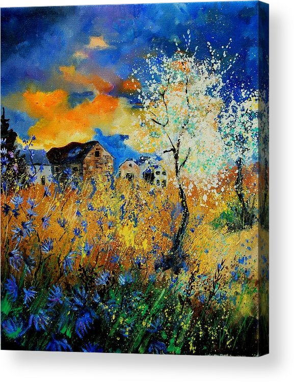 Poppies Acrylic Print featuring the painting Blooming Trees by Pol Ledent
