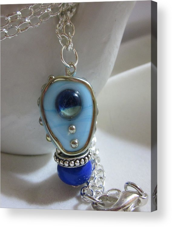 Handmade Lampwork Acrylic Print featuring the jewelry Blue Space Necklace by Janet Telander