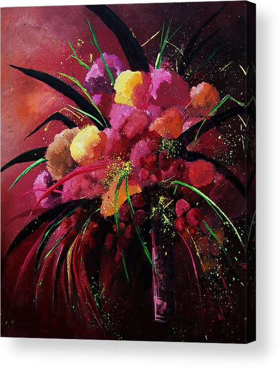 Flowers Acrylic Print featuring the painting Bunch Of Red Flowers by Pol Ledent