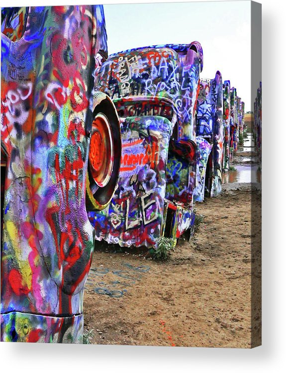 Cars Acrylic Print featuring the photograph Cadillac Ranch by Angela Wright