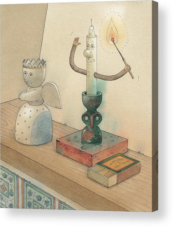 Candle Angel Evening Acrylic Print featuring the painting Candle by Kestutis Kasparavicius