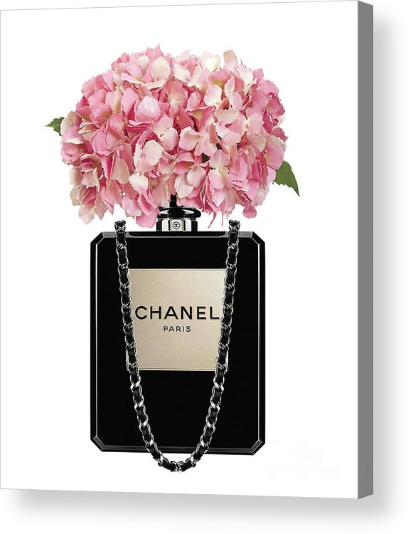 25544cfee7cb22 Chanel Acrylic Print featuring the painting Chanel Perfume Bag With Pink  Hydrangea 2 by Del Art