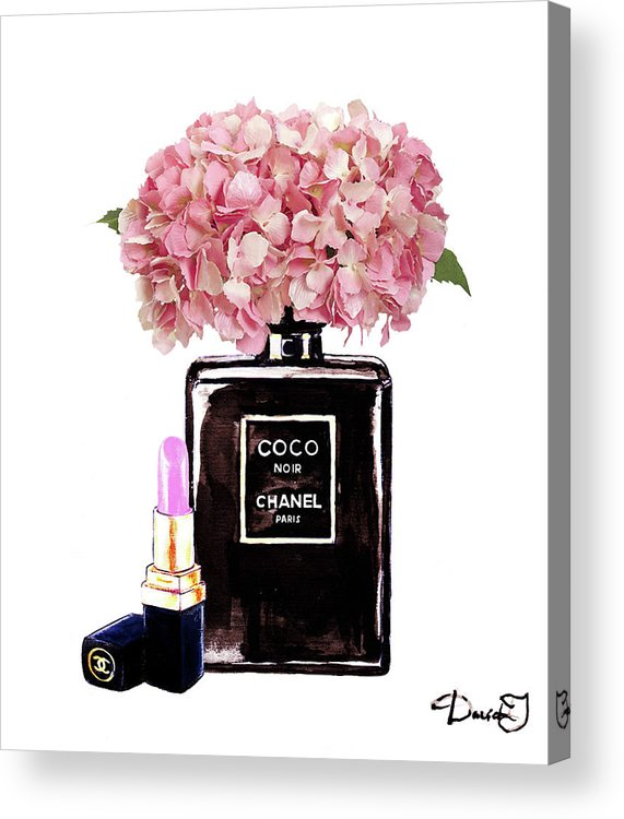 738aaa31a11b87 Chanel Print Acrylic Print featuring the painting Chanel Perfume With Pink  Hydragenia 2 by Del Art