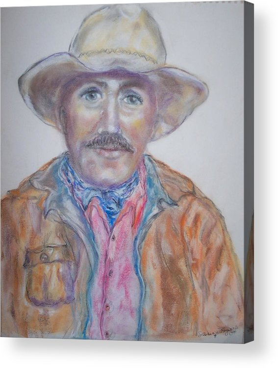 Portrait Of A Cowboy Acrylic Print featuring the drawing Cowboy Jim by Suzanne Reynolds