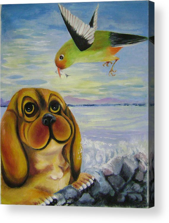 Fantasy Acrylic Print featuring the painting Curiosity by Lian Zhen