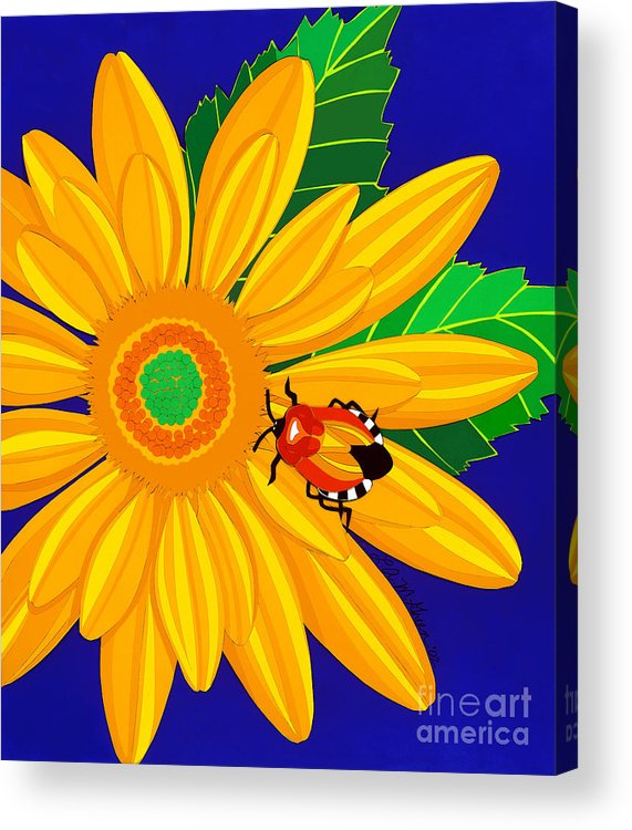 Nature Acrylic Print featuring the drawing Daisy And Shieldbug by Lucyna A M Green