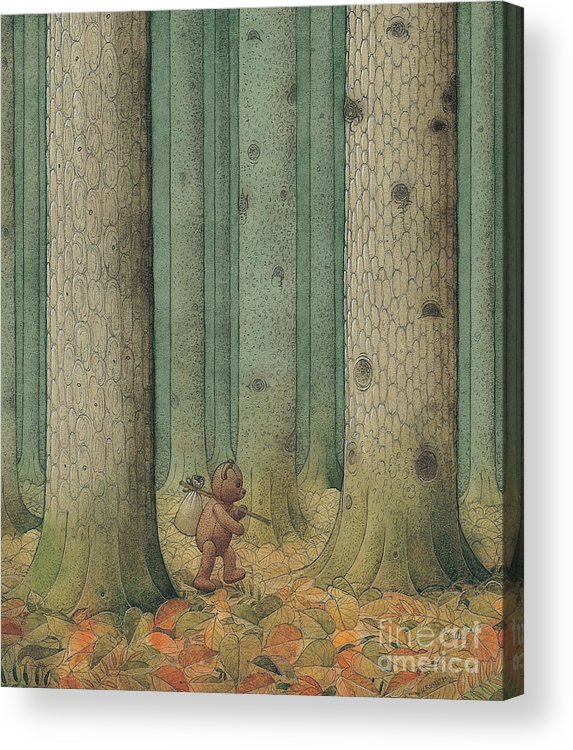 Teddybear Autumn Forest Fairy Tale Tree Melancholic Acrylic Print featuring the painting Exile by Kestutis Kasparavicius