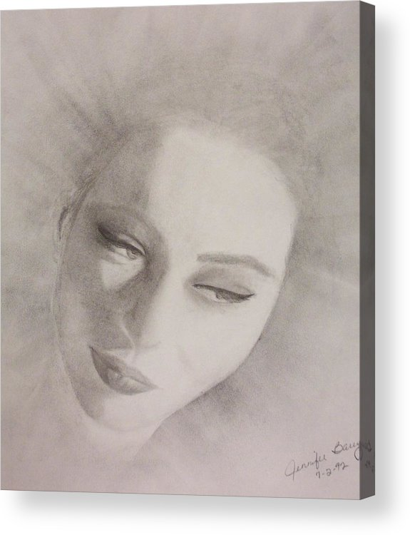 Portrait Acrylic Print featuring the drawing Face by Jennifer Hernandez