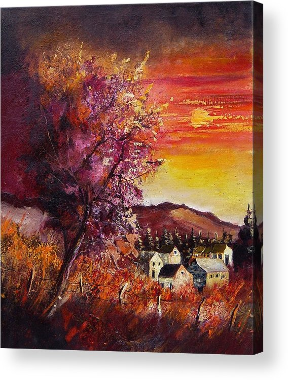 Autumn Acrylic Print featuring the painting Fall In Villers by Pol Ledent