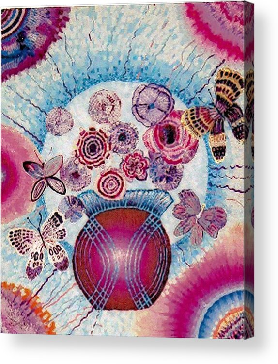 Flowers Acrylic Print featuring the painting Fantasy Flowers by Brenda Adams
