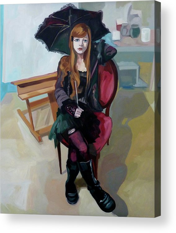 Portrait Acrylic Print featuring the painting Felice by Carmen Stanescu Kutzelnig