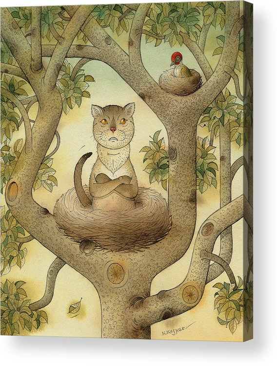 Tree Nest Cat Bird Landscape Sky Acrylic Print featuring the painting Flying Cat by Kestutis Kasparavicius