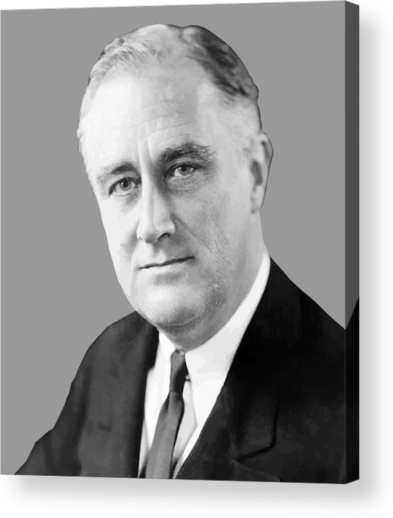 Franklin Roosevelt Acrylic Print featuring the painting Franklin Delano Roosevelt by War Is Hell Store
