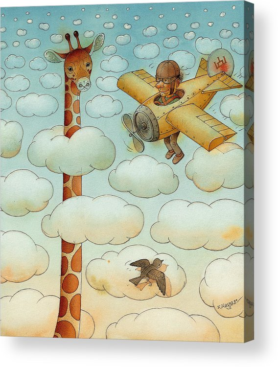 Airplane Sky Flying Giraffe Cloud Pilot Patriotizm Acrylic Print featuring the painting Giraffe by Kestutis Kasparavicius