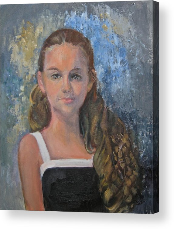 Girl Acrylic Print featuring the painting Girl Dressed Up by Catherine Lawhon