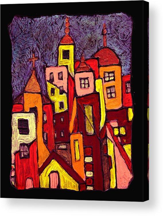 City Scapes Acrylic Print featuring the painting Hot Night In The City by Wayne Potrafka