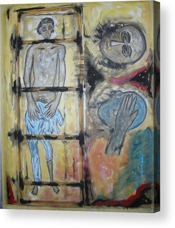 Man Acrylic Print featuring the painting Inhumanity by Narayanan Ramachandran