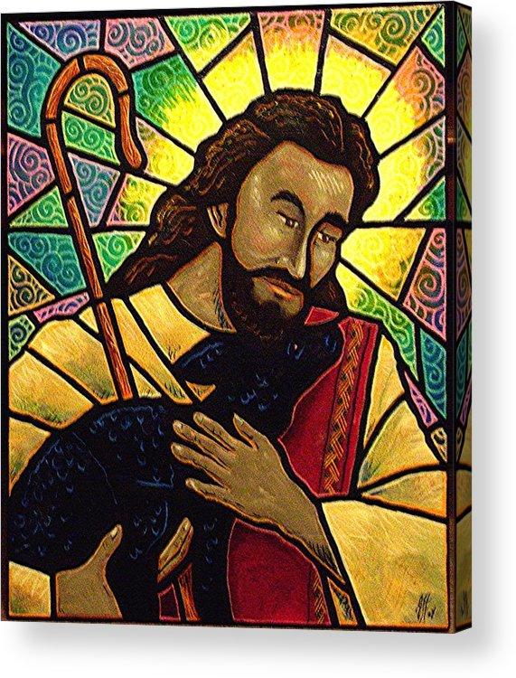 Jesus Acrylic Print featuring the painting Jesus The Good Shepherd by Jim Harris