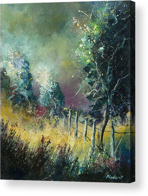 Landscape Acrylic Print featuring the painting Light On Trees by Pol Ledent
