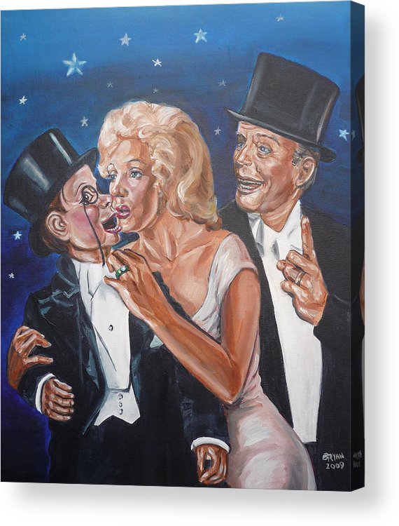 Old Time Radio Acrylic Print featuring the painting Marilyn Monroe Marries Charlie Mccarthy by Bryan Bustard
