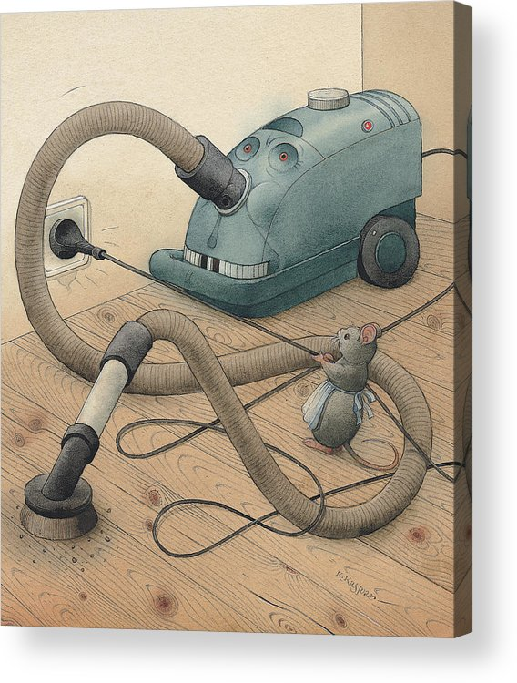 Mice Monster Vacuum-cleaner Brown Acrylic Print featuring the painting Mice And Monster by Kestutis Kasparavicius