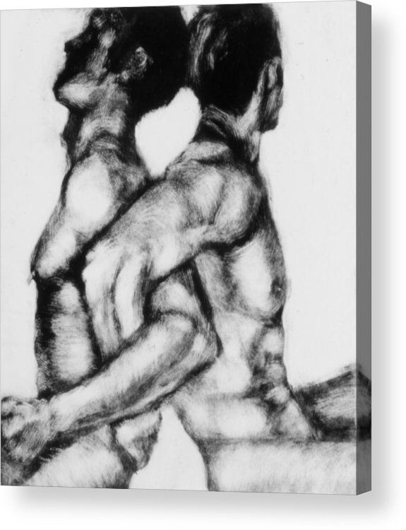Men Acrylic Print featuring the painting Monotype Series 21 by John Clum