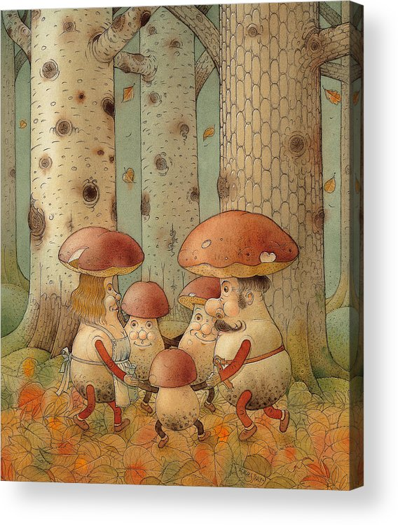 Mushrooms Landscape Forest Autumn Acrylic Print featuring the painting Mushrooms by Kestutis Kasparavicius