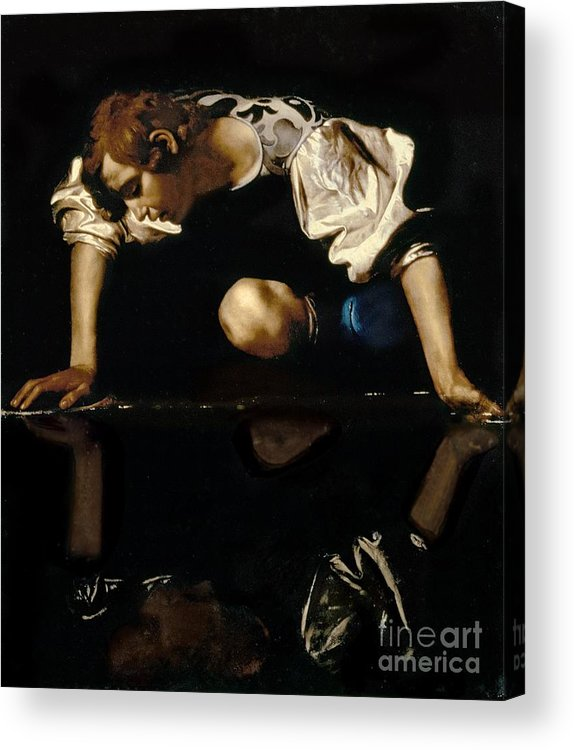 Narcissus Acrylic Print featuring the painting Narcissus by Caravaggio