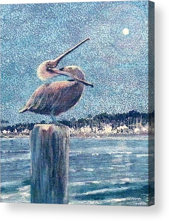 Water Acrylic Print featuring the painting Pelikan At Night Santa Barbara Harbor by Wendy Hill
