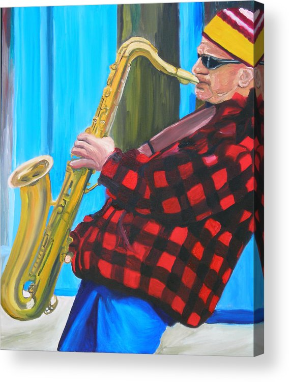 Sax Player Acrylic Print featuring the painting Play It Mr Sax Man by Michael Lee
