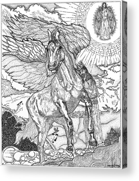 Horse Acrylic Print featuring the drawing Revelation  Return Of The King by Glenn McCarthy Art and Photography