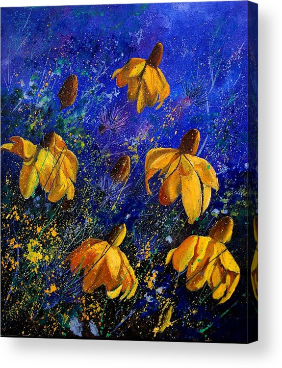 Poppies Acrylic Print featuring the painting Rudbeckia's by Pol Ledent